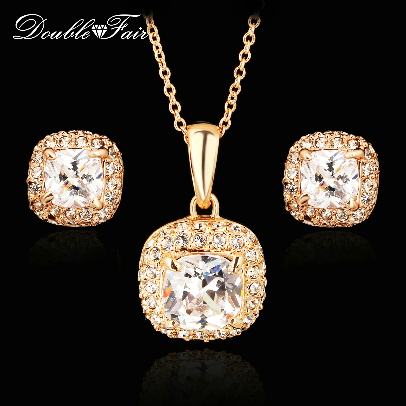 top quality cubic zirconia rose gold color necklaces