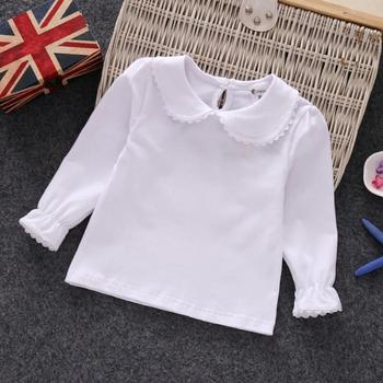 Girls Top Solid Long Sleeve Cotton - Peter Pan Collar