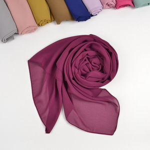 Image 3 - 10 pz/lotto donna solid plain bolla chiffon hijab sciarpa avvolge morbido lungo islam foulard scialli musulmani georgette sciarpe hijab