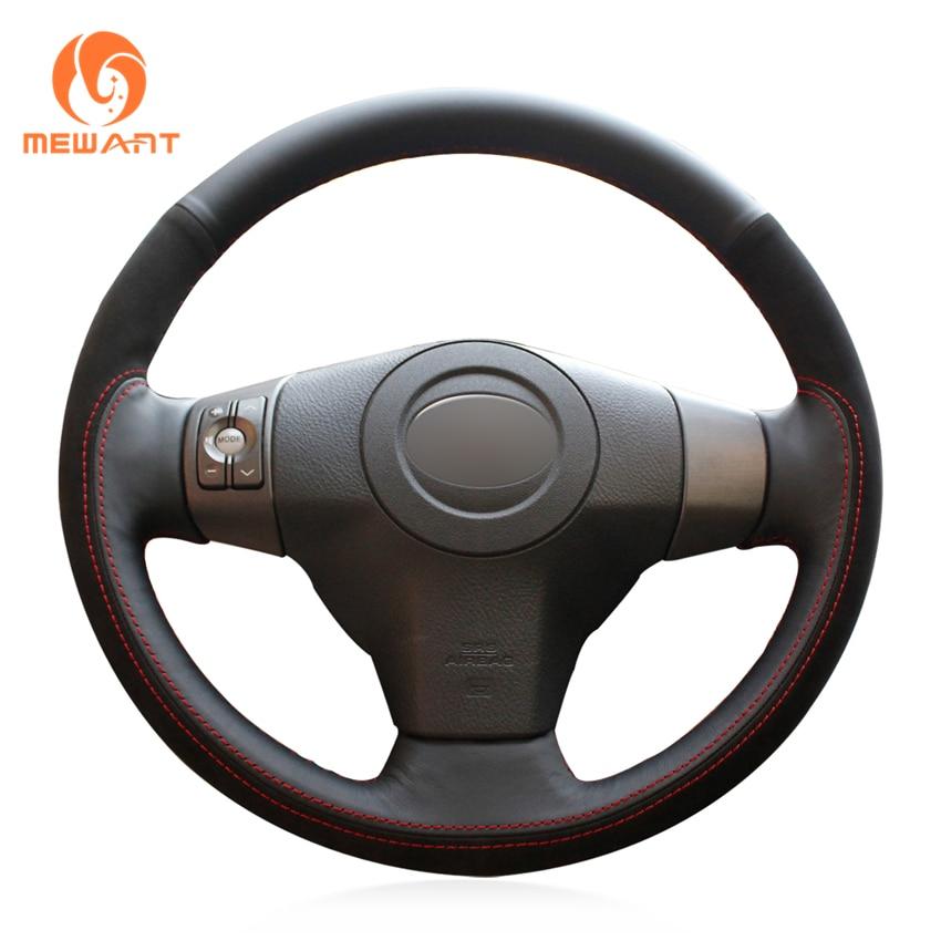 цена на MEWANT Black Genuine Leather Black Suede Car Steering Wheel Cover for Toyota RAV4 2006-2012 Vios 2008-2013 Yaris 2007-2011