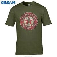GILDAN O Neck Short Funny T Shirt Slim Fit Top Texaco Retro Logo Auto Gasoline Motor