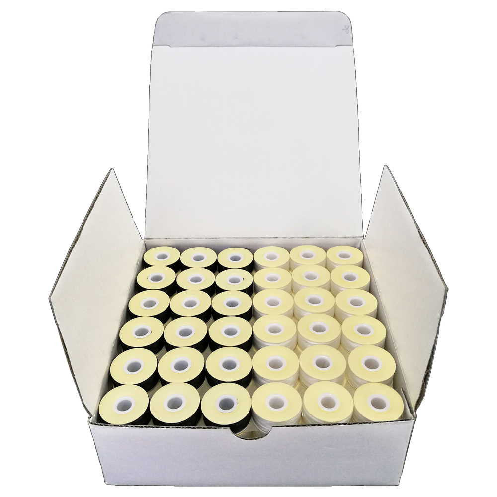 Sanbest Pre-wound Bobbins Thread, 70D/2 High Tenacity Polyester & 75D/2, Cardboard Sided, Size L, 144pcs per Box, White & Black