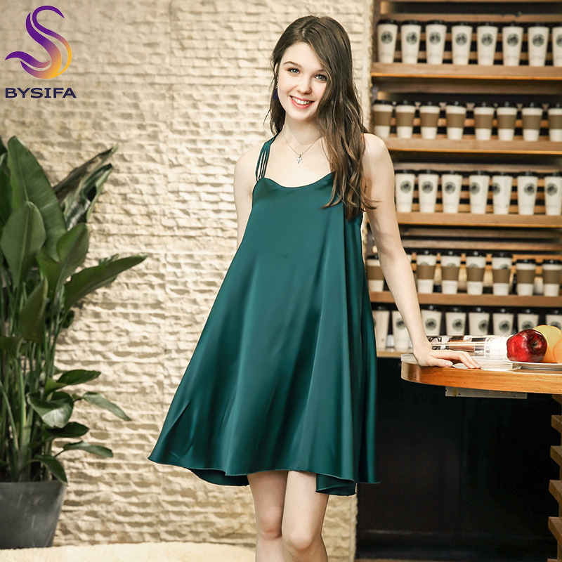 Summer Dark Green Women Silk   Nightgown   Mimi Nightdress Loose Sleepwear Women's Sexy Sleep Lounge Satin   Nightgowns     Sleepshirts
