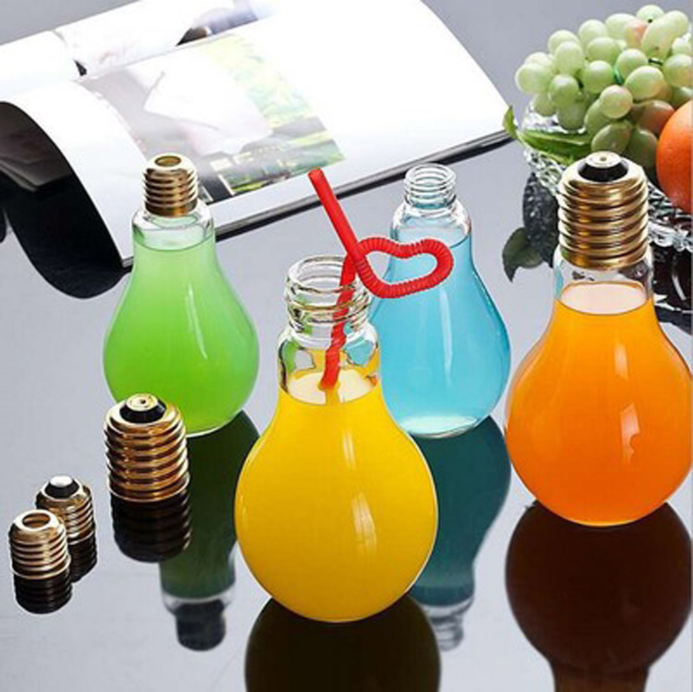 300ML Light Bulb Beverage Milky Tea Fruit Juice Drink With Lid Terrarium for Home Shop Tea with Milk Lamp Bulb Water Cups ...