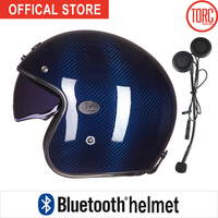 Bluetooth Carbon Fiber Motorcycle HelmetConnect Phone Support Call Vespa Motorbike Motocross Jet Retro Capacete Inner Visor