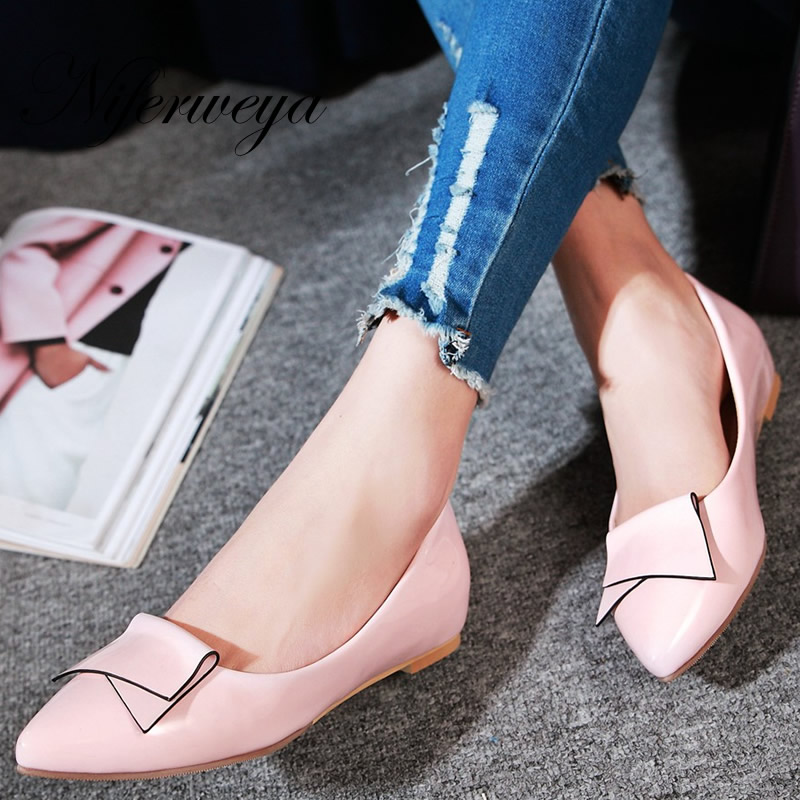 Spring/Autumn women pumps fashion Slip-On ladies shoes big size 33-45 solid PU shallow low heel shoes zapatos mujer 7-6 red spring autumn women s low heel pumps flock plain pointed toe shallow slip on ladies casual single shoes zapatos mujer black