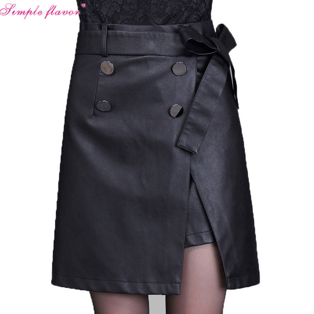 fddd79c313 Plus Size 4XL 5XL Black Leather Skirt Women s High Waist Jupe Summer Short  Mini PU Leather Skirt Sexy Pencil Skirts Saias C3363