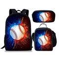 Рюкзак THIKIN Baseballs  школьный рюкзак с принтом для подростков  3 шт./компл.