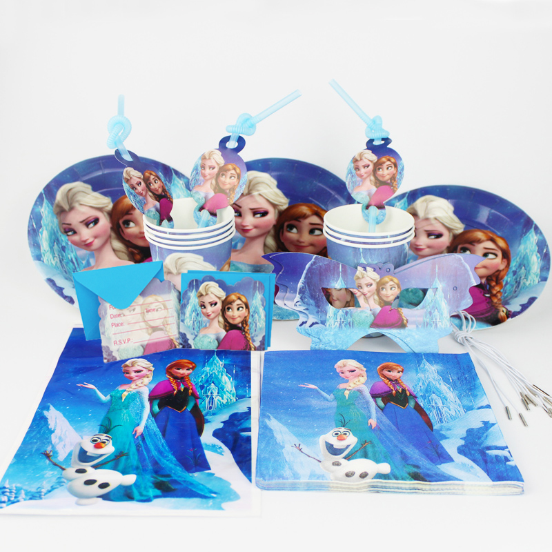 92pc Anna Elsa Cartoon movie kids happy birthday party decoration plate cup straw napkins loot bags for 12 people party supplie
