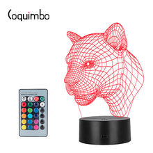 Coquimbo 3D Optical Illusion Night Light 7 LED Color Changing Lamp Solution For Nightmares Horse Head Leopard Decor Desk Lamp(China)