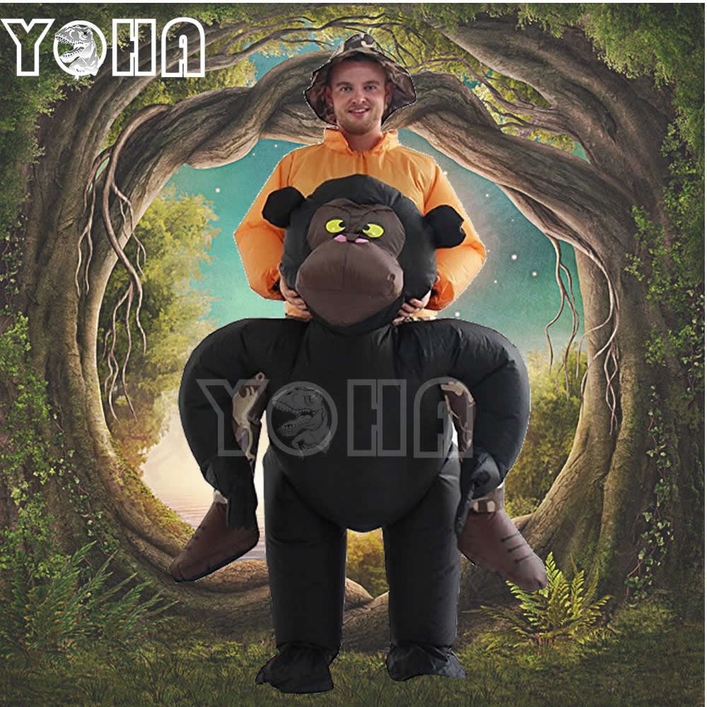YOHA New Gorilla Inflatable Costumes for cHalloween Cosplay Riding Mascot for Adult 1.5-2m Inflatable Suit with Air Pump