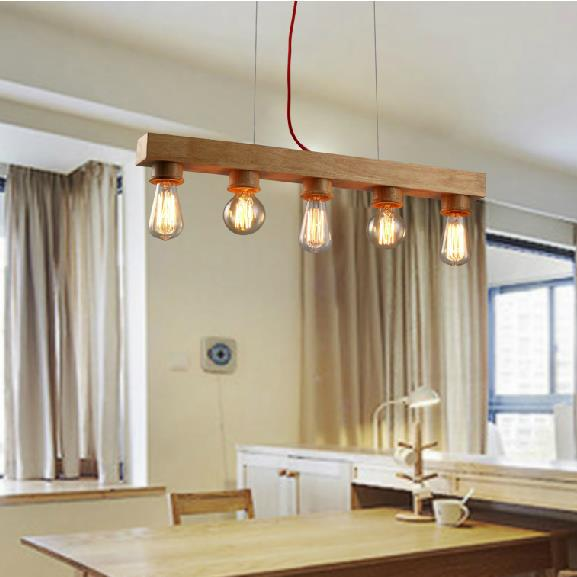 Modern European Natural Wooden Pendant Lights Fixture Nordic Wood Droplight Home Indoor Lighting Dining Room Foyer