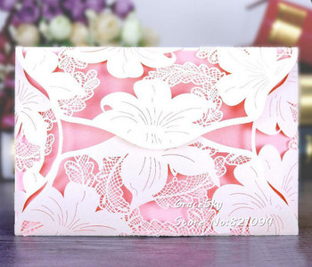 50pcs free shipping Laser cut Hollow Lily Flowers paper Wedding invitation cards with inner sheet Wedding RSVP cards
