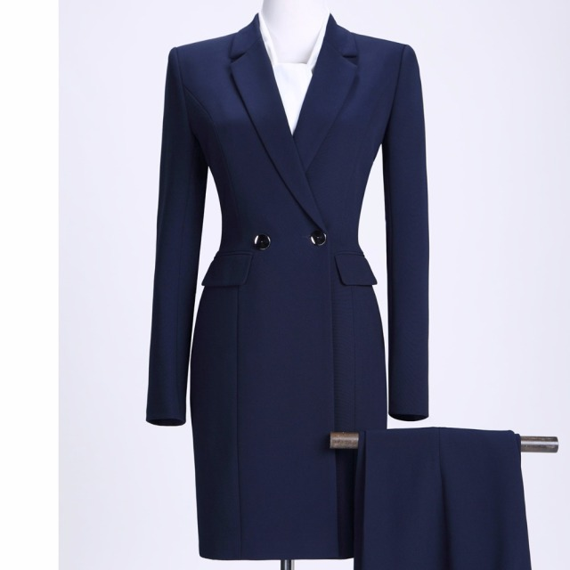 2018 New Winter Women Long Blazer Elegant Long Sleeve Formal  For Office Lady Black Blue Red 3
