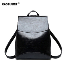 EXCELSIOR Fashion Backpack PU Leather Women's Bag Simple Vintage School Bags Large Capacity Casual Female Backpack Multi-Use New