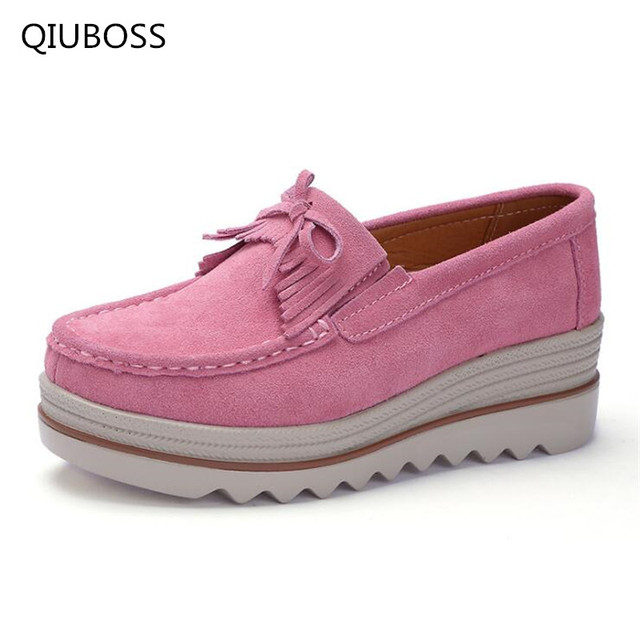 7f9fb32cc382 QIUBOSS 2018 platform shoes slip on loafers suede cow leather breathable  comfortable fashion womens walking casual shoes Q22