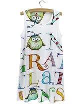 Заглавных букв английского алфавита летнее платье Совы доктор Белый рукавов  футболки 2015 для девочек круглый воротник 844327bb3bdba