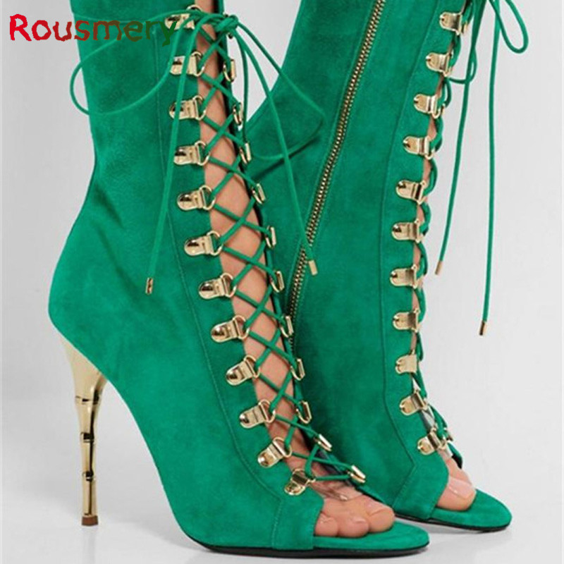 2017 New Arrival Fashion Thin High Heels Cover Heel Woman Sandals Colorful Cross-tied Metal Decoration Zapatos Mujer Tacon