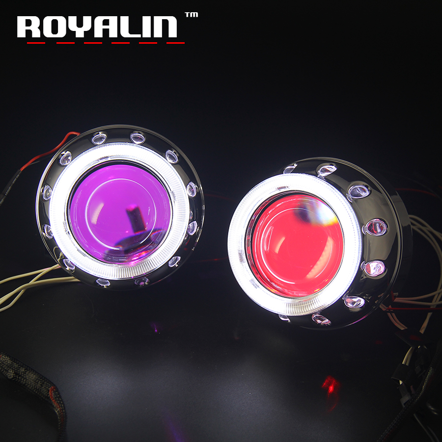 ROYALIN Bi-Xenon Projector Lens H1 For MC-R Double Angel Eyes CCFL Halo Rings White Red Blue W/ LED Demon Evil Eyes H4 H7 Bulbs royalin w2 halogen lens h1 for hid bi xenon projector headlight lenses led cob angel eyes white demon devil eyes for h4 h7 cars