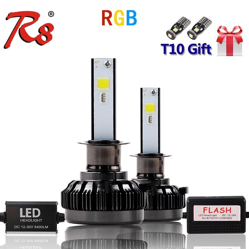 APP Bluetooth RGB Color Remote Control Car Head Lamp LED Headlight Bulbs H1 H7 H11 H4