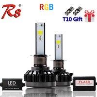 APP Bluetooth RGB Color Remote Control Car Head Lamp LED Headlight Bulbs H1 H7 H11 H4 40W 6000LM COB Chips All Colors