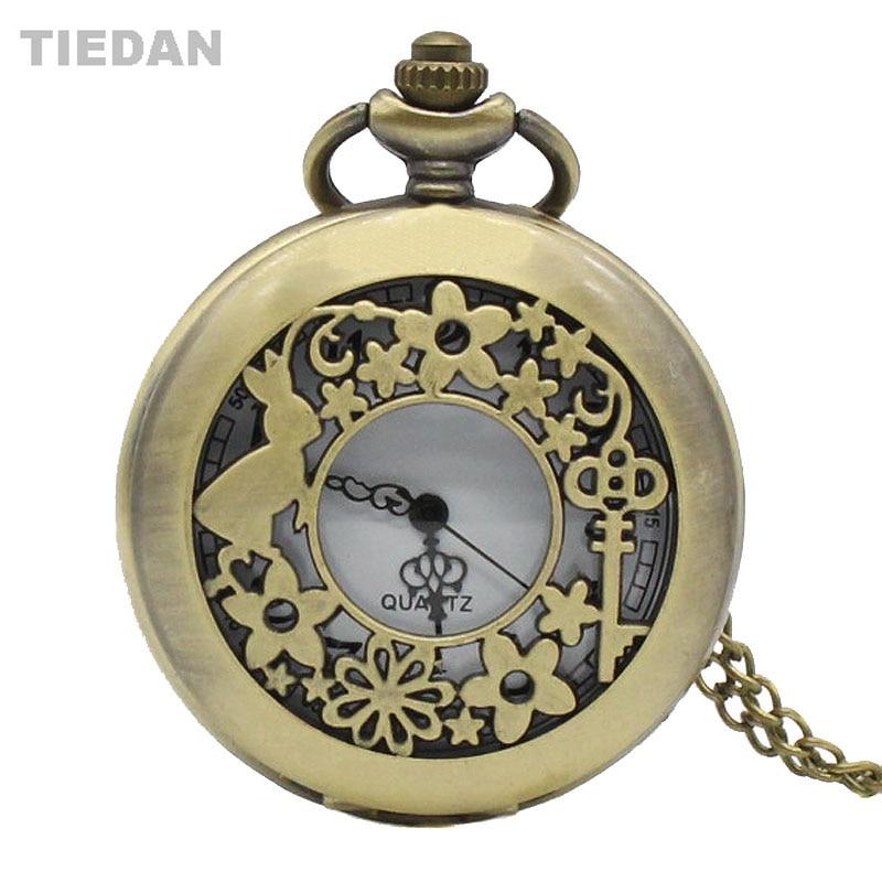 TIEDAN Hot Sale Hollow Rabbit&Key Design Vintage Quartz Steampunk Pocket Watch for Unisex Gifts with Necklace Retro Watch H24
