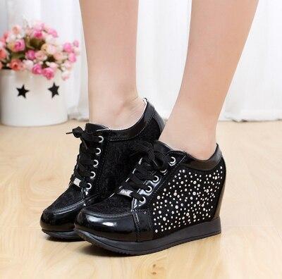 d4d177a741a2 Blanco negro con cuña oculta moda Casual mujeres ascensor zapatos  zapatillas zapatos deportivos zapatos para mujeres Rhinestone en Calzado  casual de hombre ...