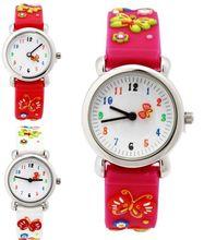 Impermeable Niño Relojes mariposa Niños de Silicona Reloj de pulsera de Cuarzo de la Marca Del Bebé Para Los Muchachos de Moda Reloj Casual