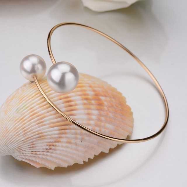 New Fashion Women Jewelry Double Simulated Pearl Ball Beads Gold Silver Plated Open Cuff Bracelets Slim Adjustable Bangels Women 2