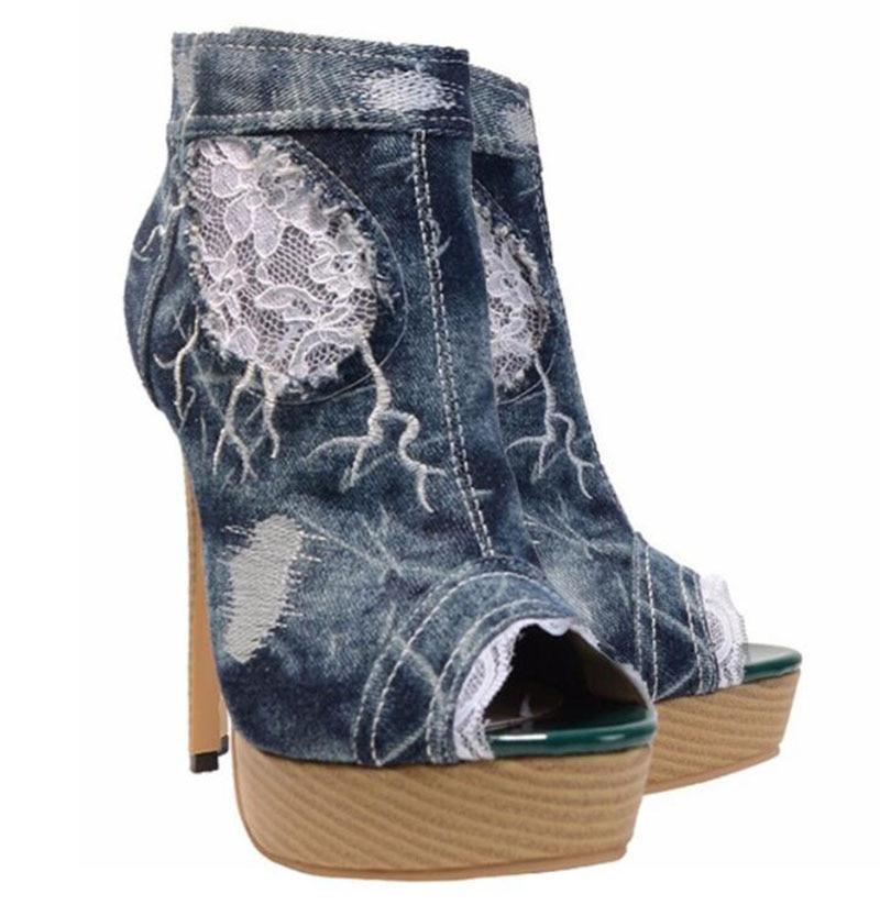 KNCOKAR 2018 été nouveau style à la mode à talons hauts table à eau poisson bouche chaussures dentelle cowboy trou fait à la main chaussures de loisirs - 6