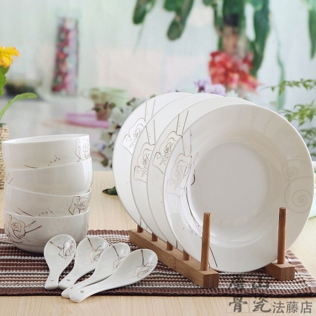 12-piece set decorative white bone china dinner set gold pinstripe rose blossom : white dinner plate set - pezcame.com