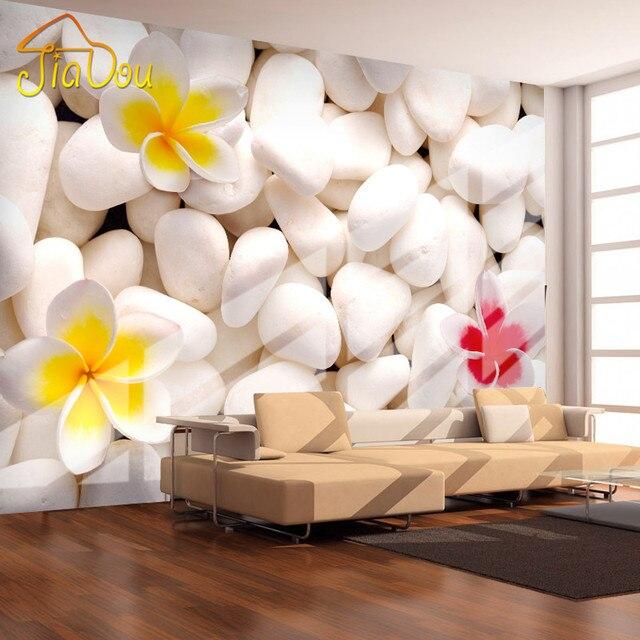 Custom Mural Wallpaper 3D Cobblestone Flower Modern Living Room Sofa ...