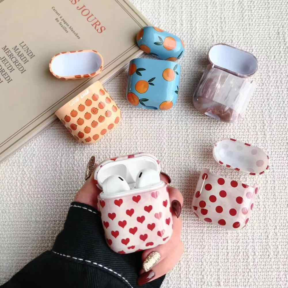 Cute Fruit series Marble Bluetooth Wireless Earphone Cover For AirPods Protective Hard Case for Apple Airpods Headset Bag love
