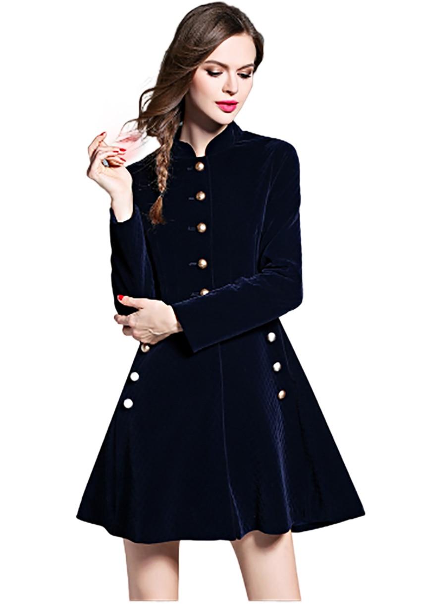 Bleu À Robe Longueur Femmes Stand ligne Lady Roc Casual Col Winterjas Genou Vol Automne Slim Vrouwen Longues A Manches IUqxvw