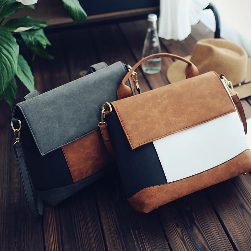 2017 European and American Spell Color Handbag Shoulder Messenger Bag Minimalist
