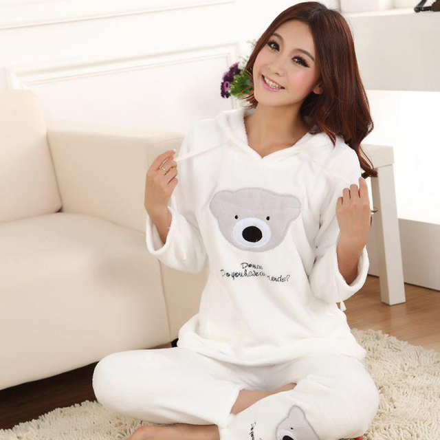 25929df8f Women's coral fleece nighty sleepwear cute bear pattern autumn & winter  ladies long-sleeve pajamas nightwear nightgown set