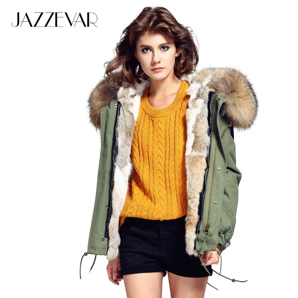 JAZZEVAR 2019 mulher verde army Grande gola de pele de guaxinim casaco com capuz parkas outwear destacável forro de pele de coelho jaqueta de inverno