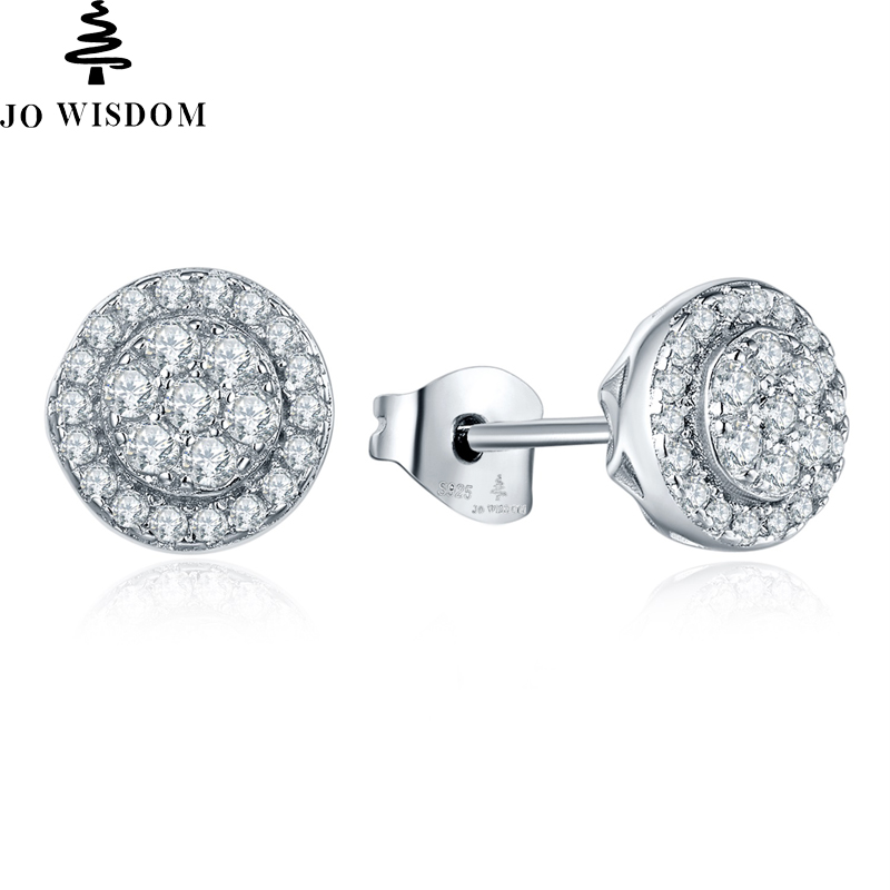 JO WISDOM Hot Sale 925 Sterling Silver Stud Earring for Women Romantic Wedding Natural Topaz Round Stud Earring Fine Jewelry four color round stud earring set 4pair