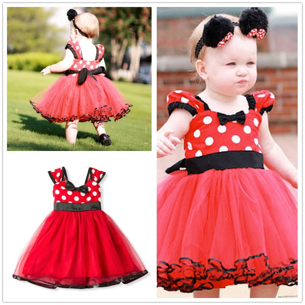 Minnie Mouse Baby Girl Clothing for Girl Minnie Infant Dresses for Baby Christening 1 Year Girl Birthday Dress Clothes Costume minnie dots 4th birthday number minnie print tank top with white ruffles