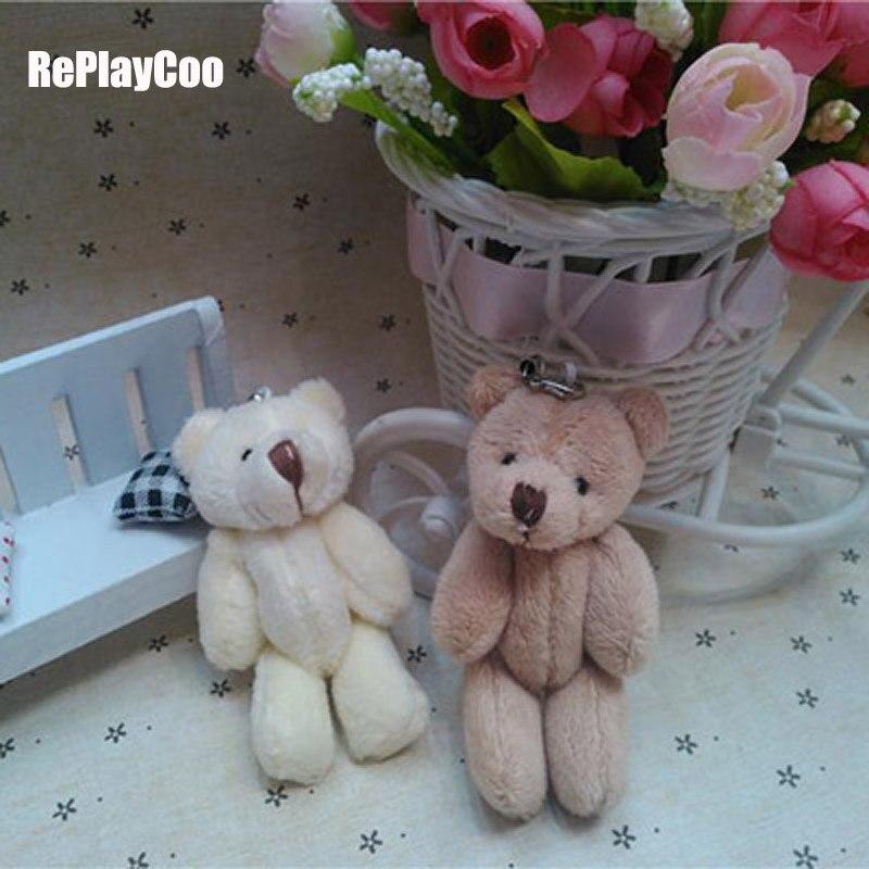50pcs lot Kawaii Small Joint Teddy Bears Stuffed Plush With Chain 8CM Toy Teddy Bear Mini