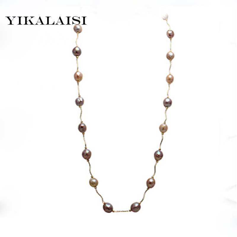 YIKALAISI 2017 NEW Fashion Long Pearl Necklace Baroque Natural Freshwater Pearl Jewelry For Women pearl choker Necklace rimless sunglasses ultra light crystal diamond glasses myopia sunglasses women can be customized bright reflective polarizer