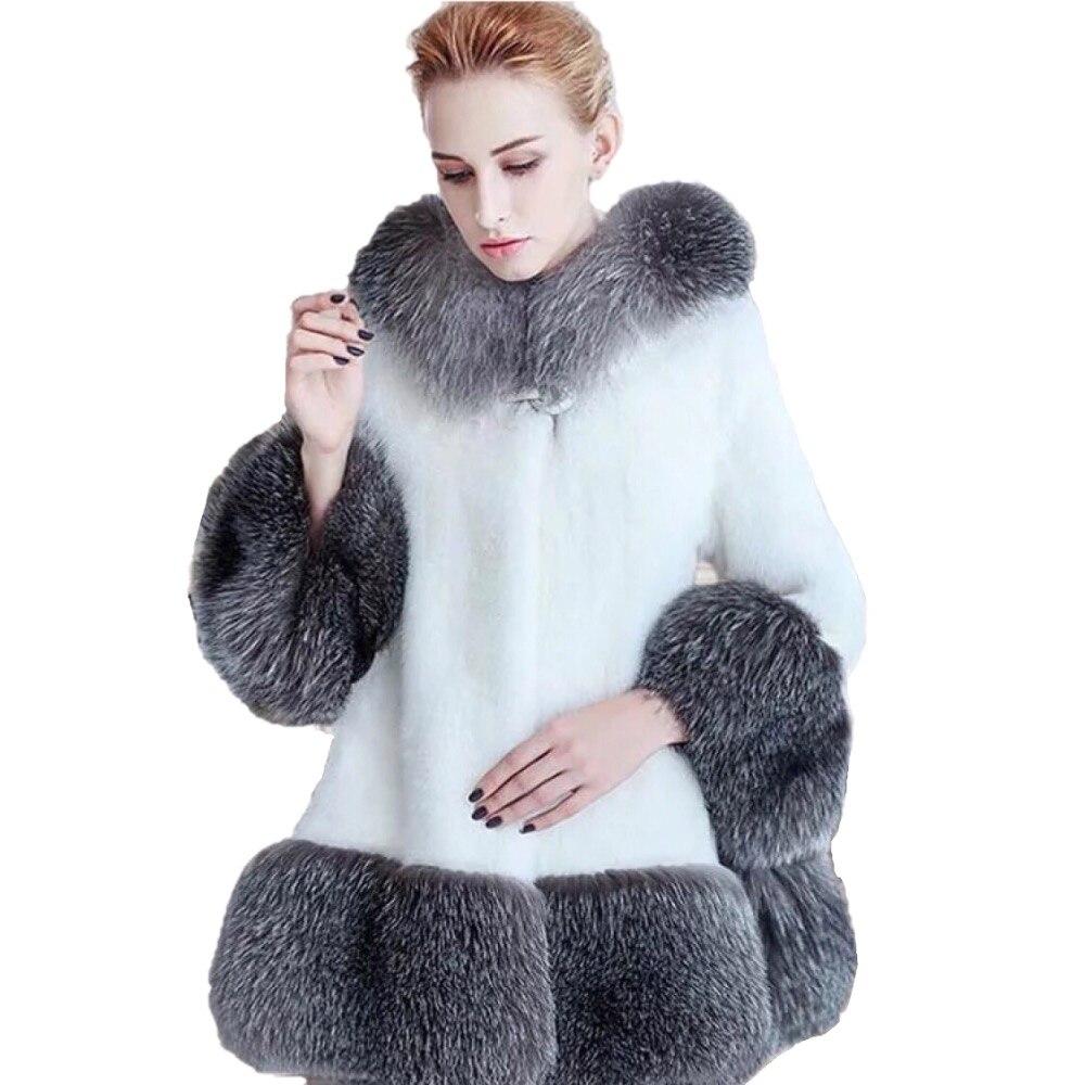 Long Fourrure Plus Épais Parkas Blanc En Manteau 2018 noir Hiver Cuir De Casual Et Femmes Chaud Fausse Taille Veste Capuchon Survêtement La Mode Femelle À U0w5xWgpvq