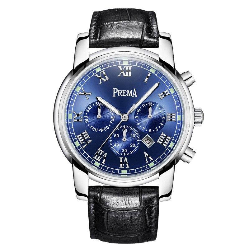 Men's Steel Belt Watch Multi Function Six Needle Calendar Luminous Quartz Watch Men's Watch Student Fashion Men's Belt|Quartz Watches| |  - title=