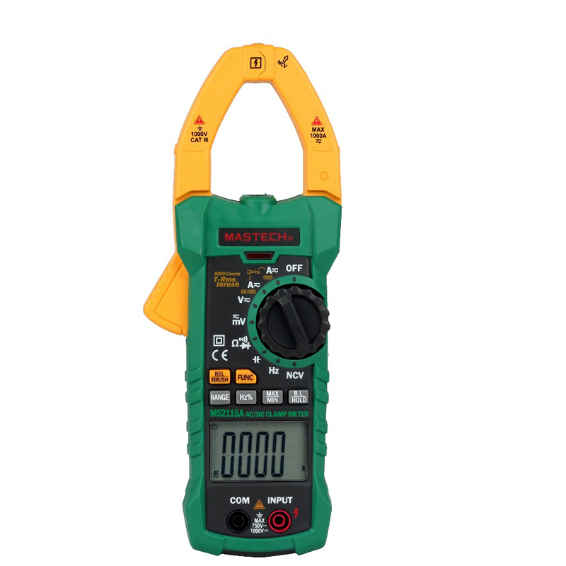 MS2115A DIGITAL DC/AC CLAMP METERS Voltage Current Resistance Capacitance Tester True RMS digital dc ac clamp meters multimeter true rms voltage current resistance capacitance 1000a tester mastech ms2115a