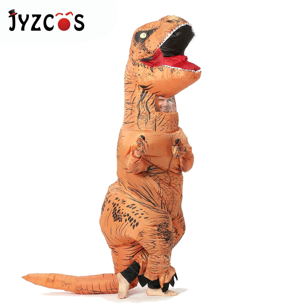 JYZCOS Inflatable T-REX Costume Dinosaur Cosplay Costume Halloween Costumes for Women Men Kids Disfraces Adult