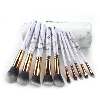10Pcs/Set Pro Marbling Makeup Brushes Kit Marble Pattern Cylinder PU Brush Bag Power Beauty Make Up Brush Cosmetic Tools 2