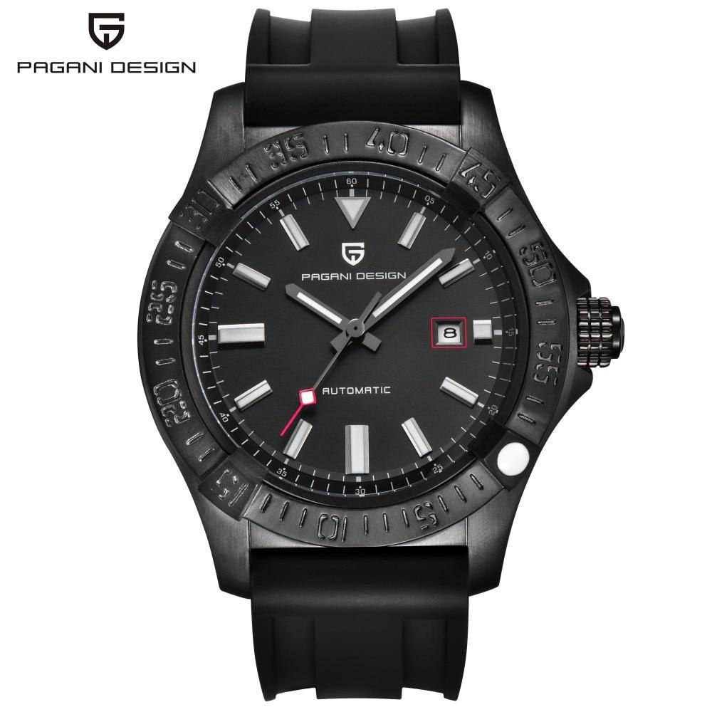 PAGANI DESIGN Fashion Black Rubber Men's Watch Automatic Self-Wind Mechanical Date Sport Wristwatch Big Dial Watch PD-1627M