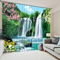 높은 품질 사용자 정의 3d 커튼 직물 창 커튼 침실 자연 풍경 폭포 커튼 거실