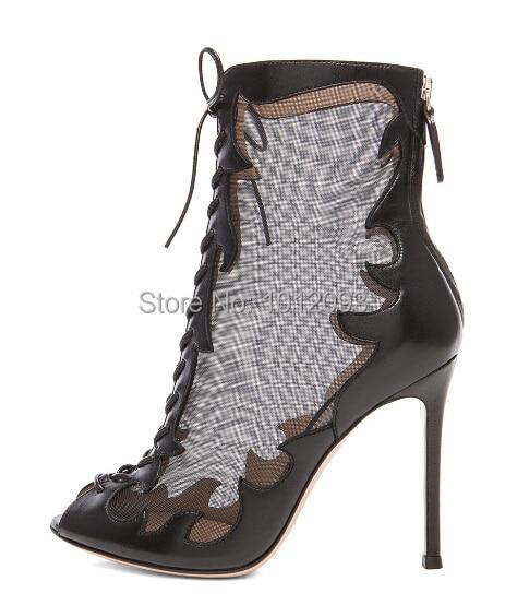 f49ebbb9858a Top Designer Black Mesh Lace Up Front Booties Open toe High Heels Hidden  Back zip Women Short Boots Drop Shipping
