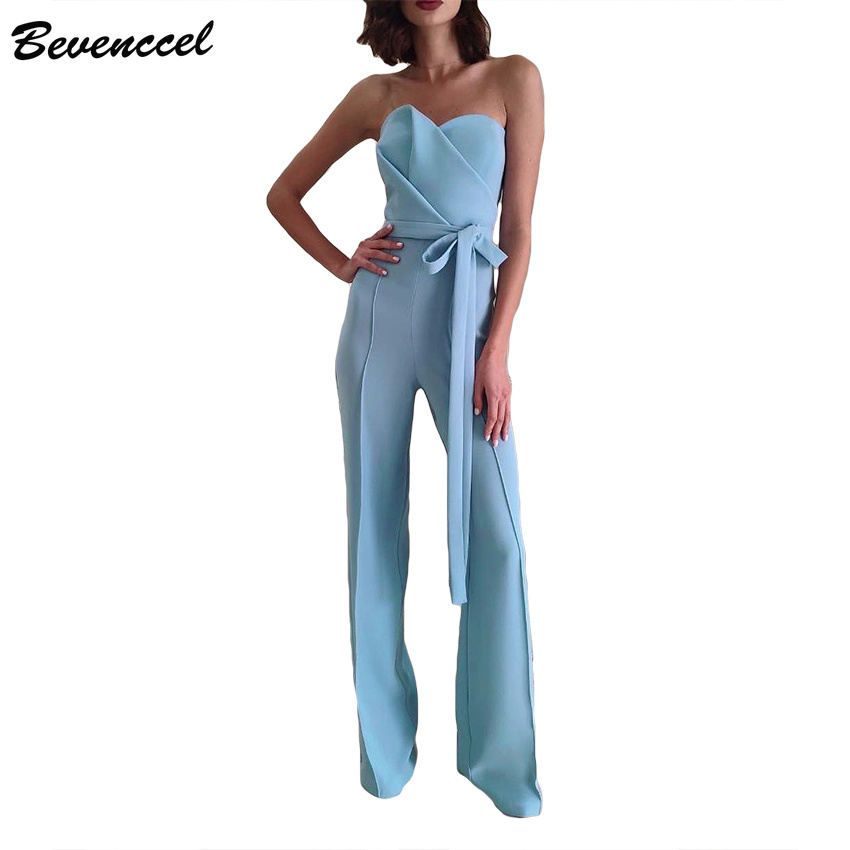 Bevenccel 2019 Strapless Women Jumpsuits Sleeveless Elegant Celebrity Evening Party Bodysuit Sexy Summer Jumpsuit with Belt
